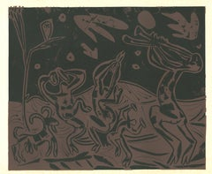 Les Danseurs au Hibou - Linocut Reproduction After Pablo Picasso - 1962
