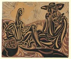 Les Vendangeurs   - Linocut Reproduction After Pablo Picasso - 1962