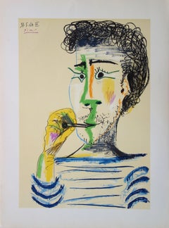 Man With Sailor Blouse and Cigarette - Stone lithograph - 1966