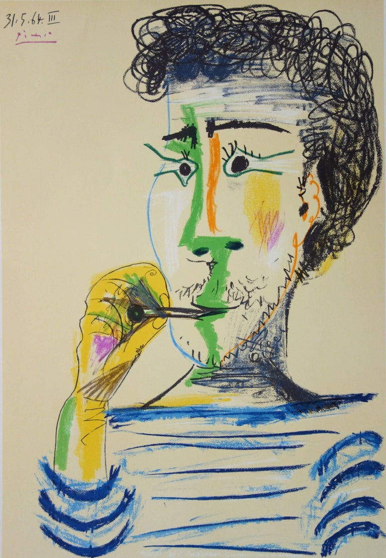 Man With Sailor Blouse and Cigarette - Stone lithograph - 1966 - Modern Print by (after) Pablo Picasso