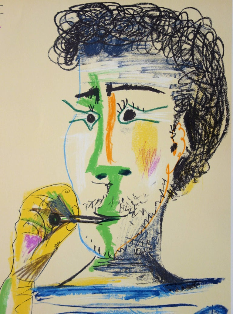 Pablo Picasso (after) Man With Sailor Blouse and Cigarette  Stone lithograph in colors Printed signature in the plate Dated 31-5-64 On vellum 67.5 x 50 cm (c. 27 x 20 in)  REFERENCES : Lithograph created after the drawing referenced in catalog