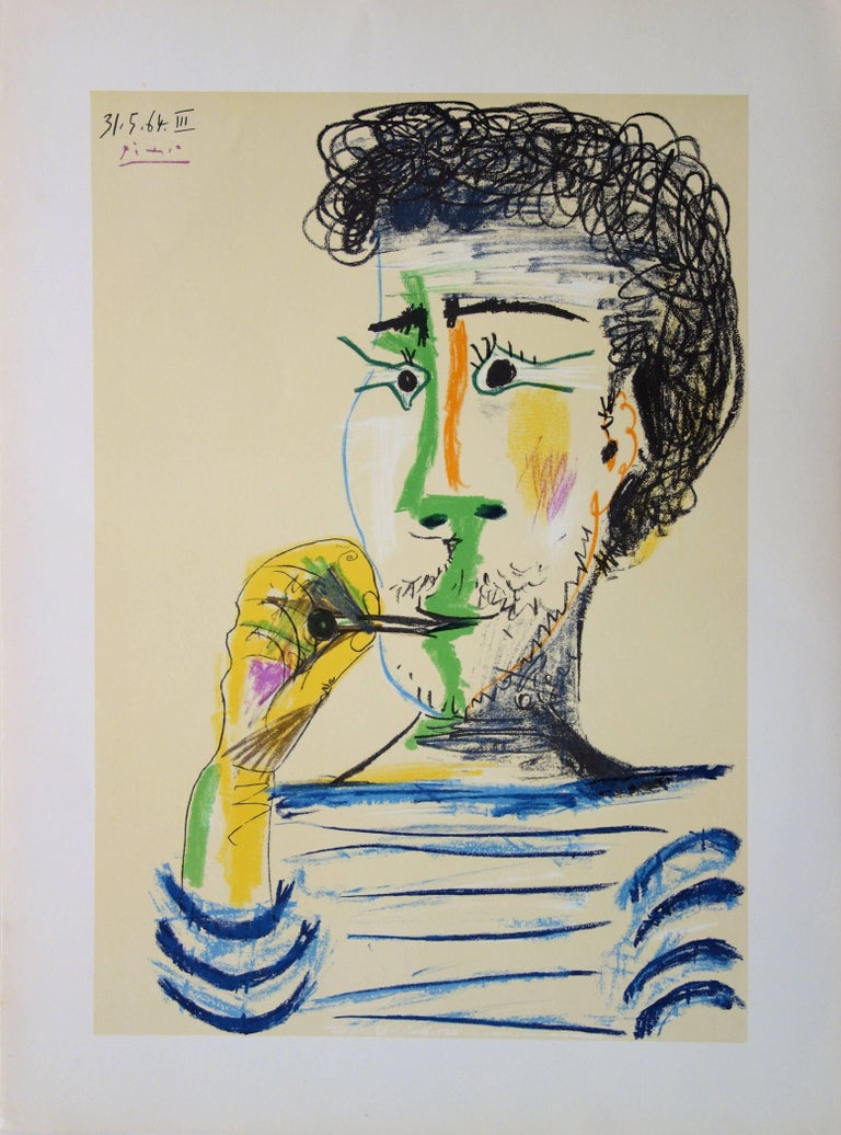 (after) Pablo Picasso Portrait Print - Man With Sailor Blouse and Cigarette - Stone lithograph - 1966
