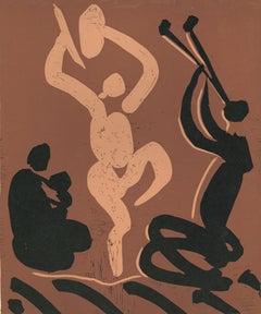 Mère. Danseur et Musicien  - Original Linocut After Pablo Picasso - 1962