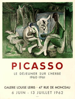Original Vintage Pablo Picasso Art Exhibition Poster Luncheon On The Grass Manet