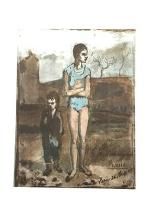 Pablo Picasso (after) - Harlequin and Boy - Lithograph