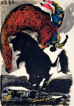 """Pablo Picasso-Bullfight-14.75"""" x 10.5""""-Lithograph-1959-Cubism"""