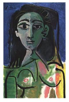 """Pablo Picasso-Buste de Femme (Jaqueline)-38.5"""" x 26.25""""-Poster-Cubism-Multicolor"""