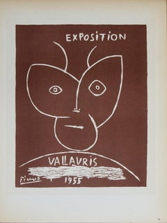 "Pablo Picasso-Exposition Vallauris II-12.5"" x 9.25""-Lithograph-1959-Cubism-Brown"