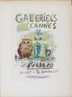 """Pablo Picasso-Galerie 65-12.5"""" x 9.25""""-Lithograph-1959-Cubism-Green"""