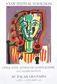 """After Pablo Picasso-Palais des Papes, Tete de Femme-29.75"""" x 20"""""""