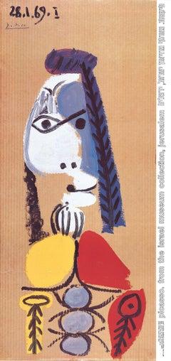 """Pablo Picasso-Profile of a Woman-39"""" x 18.5""""-Poster-1969-Cubism-woman, portrait"""
