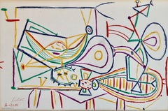 Pablo Picasso School Prints Composition, Vallauris 7-10-1948 Drawing Lithograph