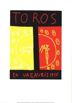"""After Pablo Picasso-Toros En Vallauris-39.5"""" x 27.5""""-Serigraph-1997-Cubism"""