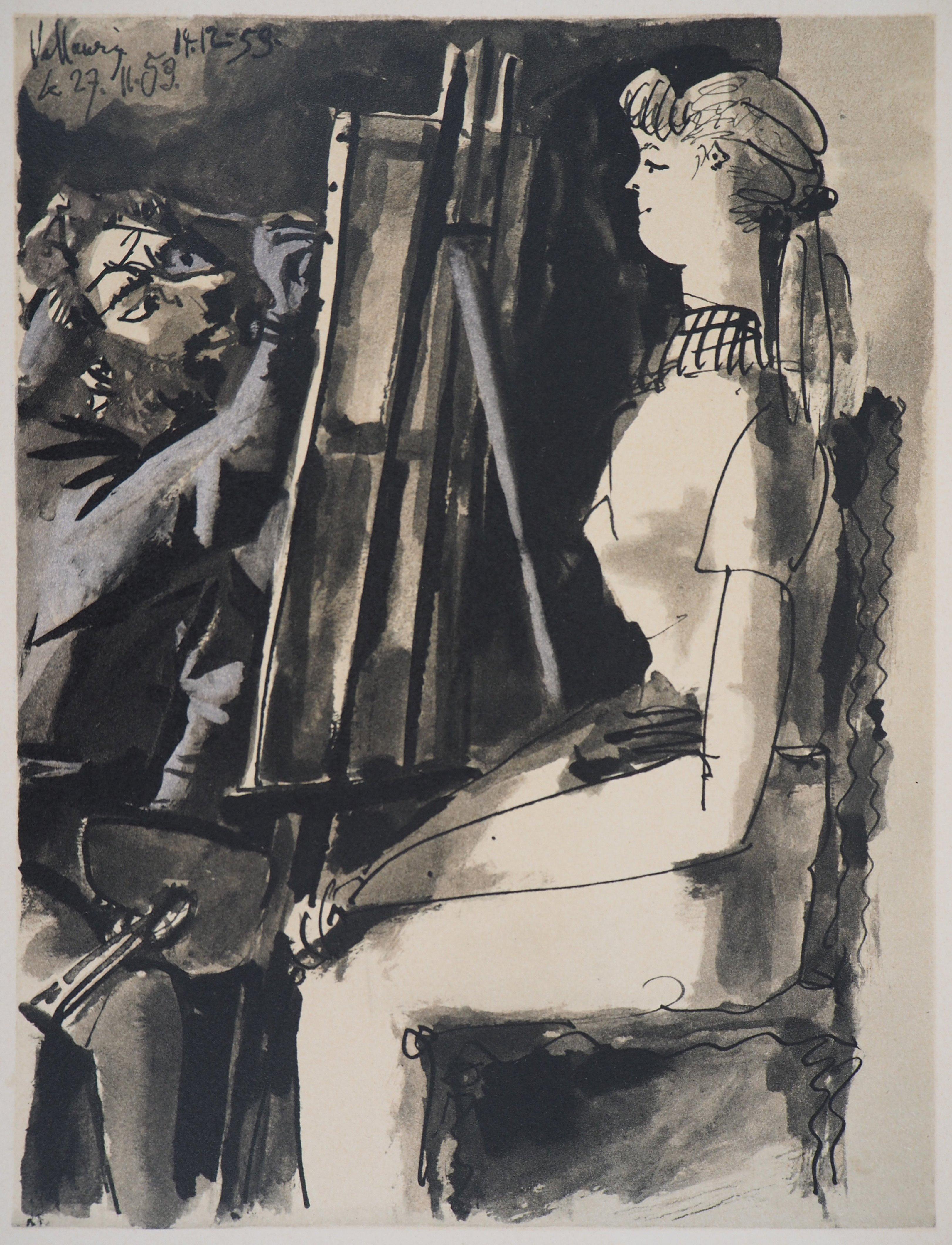 Painter with his Model - Litograph on Arches Vellum - Verve, Mourlot