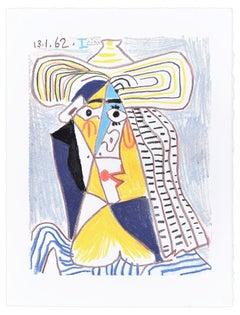 Personnage Cubiste au Chapeau - Original Lithograph After P. Picasso
