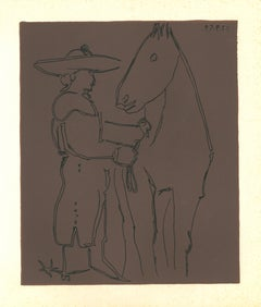 Picador et Cheval - Original Linocut After Pablo Picasso - 1962