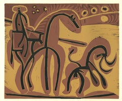 Picador et Taureau   - Linocut Reproduction After Pablo Picasso - 1962