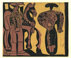 Picador et Torero  - Linocut Reproduction After Pablo Picasso - 1962