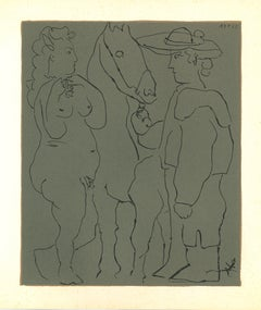 Picador, Femme et Cheval - Original Linocut After Pablo Picasso - 1962