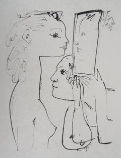 Picasso and Model Looking In The Mirror - Lithograph on Japan paper - Ltd 100