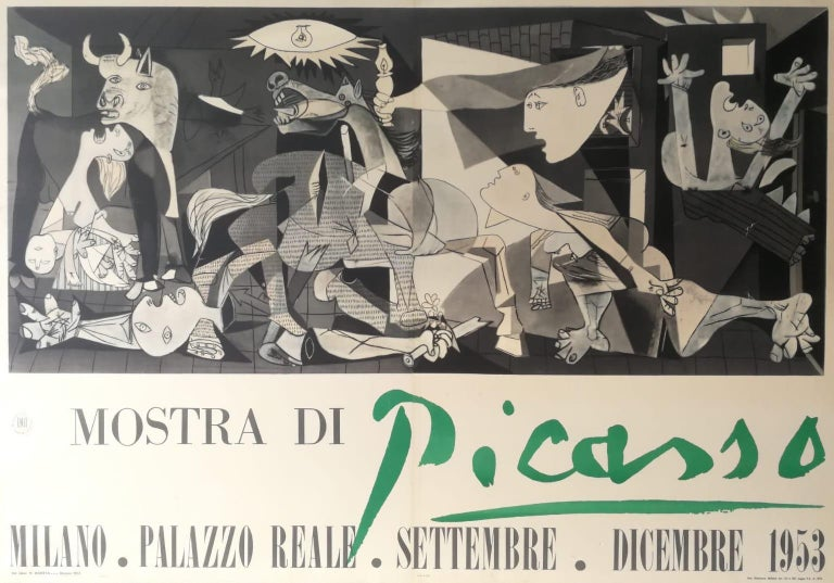 """(after) Pablo Picasso Abstract Print - Picasso exhibition poster, """"Mostra di Picasso,"""" depicting Guernica - 1953"""