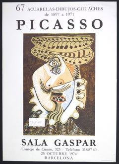 Picasso Vintage Exhibition Poster in Barcelona Sala Gaspar - 1974