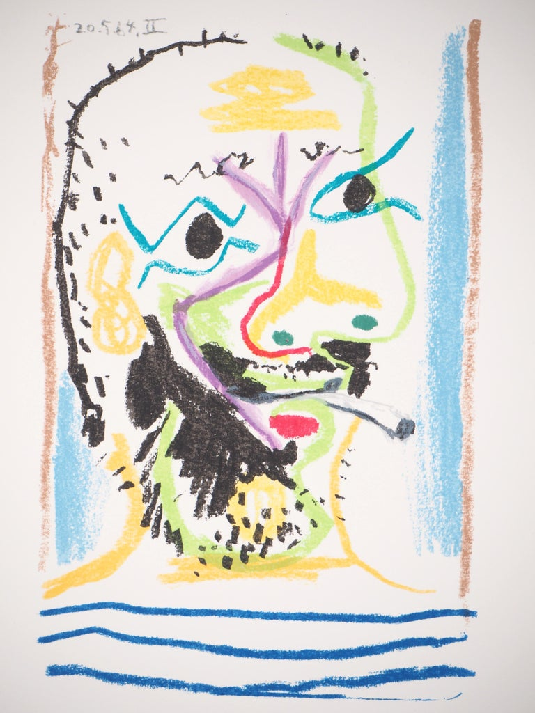 Self Portrait with a Cigarette - Lithograph  - Print by (after) Pablo Picasso
