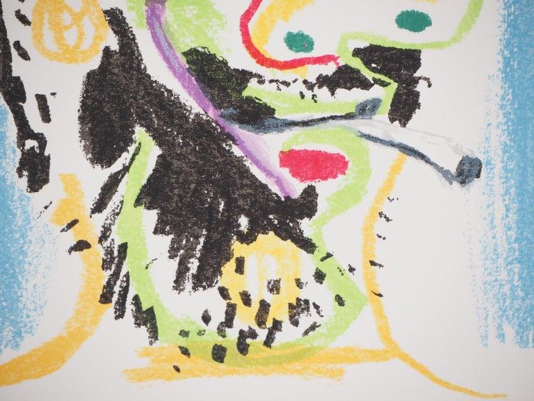 Self Portrait with a Cigarette - Lithograph  - Gray Portrait Print by (after) Pablo Picasso