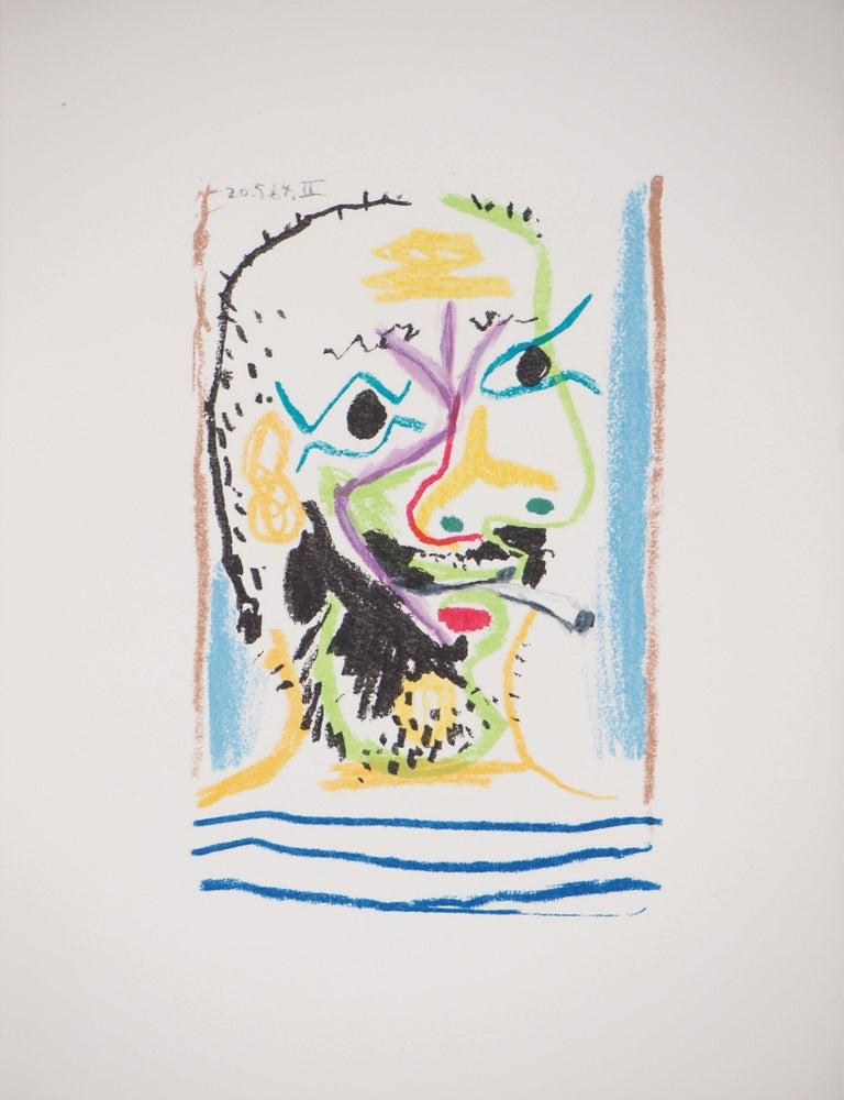 (after) Pablo Picasso Portrait Print - Self Portrait with a Cigarette - Lithograph