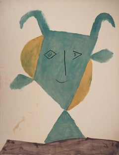 Smilling Green Faun - Lithograph (Jacomet 1960)