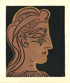 Tete de Femme - Linocut Reproduction After Pablo Picasso - 1962