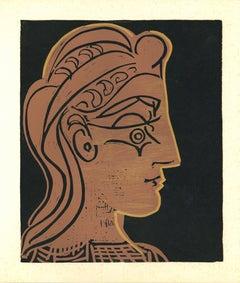 Tete de Femme - Linocut Reproduction After Pablo Picasso - 1962