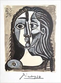 TETE DE FEMME Lithograph, Ink Wash Female Portrait Head, Beige, Blue Gray, Black