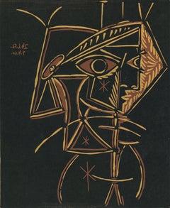 Tete de Femme - Original Linocut After Pablo Picasso - 1962