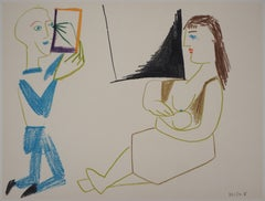 The Artist and his Model - Lithograph on Arches Vellum - Verve, Mourlot