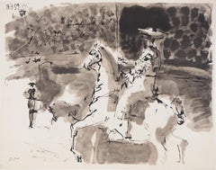 Toros :  Elegant Toreador on his Horse - Lithography