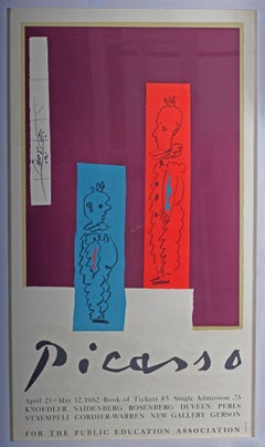 Vintage Picasso exhibition poster with reds, blues and purples