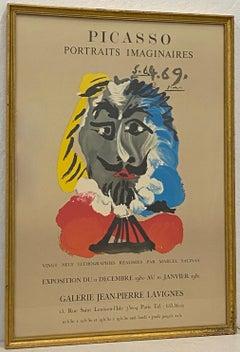 """Vintage Picasso """"Portraits Imaginaires"""" Parisian Exhibition Poster c.1981"""