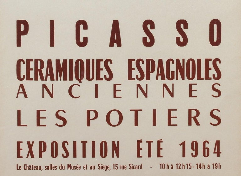 Vintage Vallauris Ceramics Poster by Pablo Picasso and Arnéra Printers (1964) For Sale 4