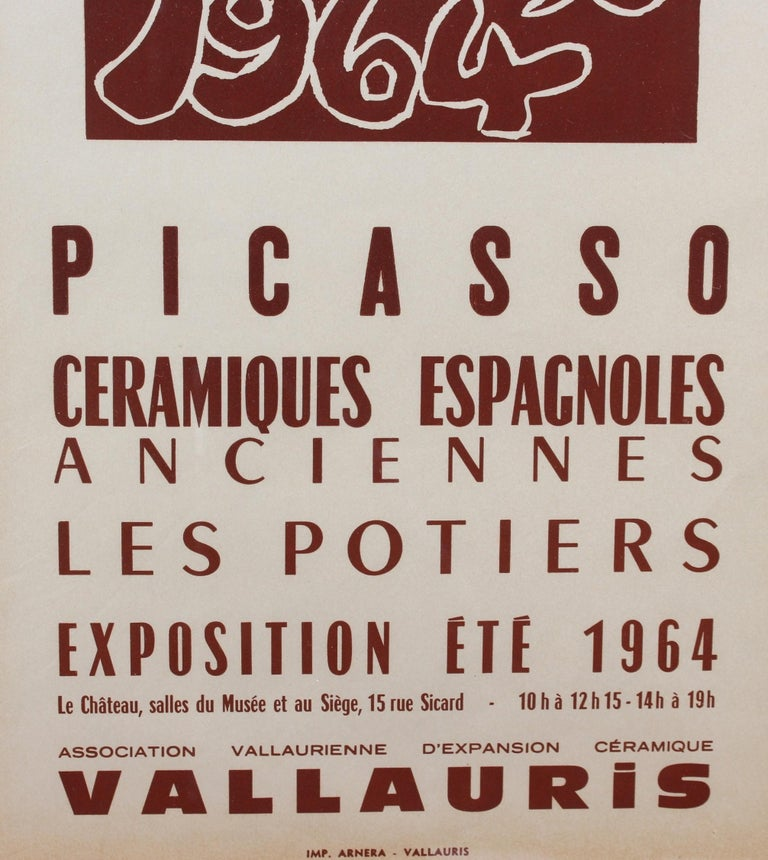 Vintage Vallauris Ceramics Poster by Pablo Picasso and Arnéra Printers (1964) For Sale 5