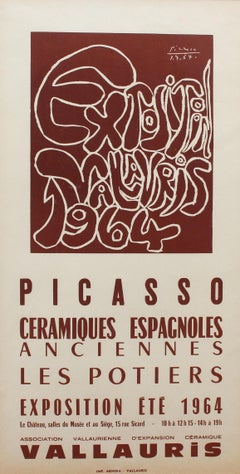 Vintage Vallauris Ceramics Poster by Pablo Picasso and Arnéra Printers (1964)