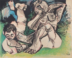 Woman and Boy Resting in a Garden - Lithograph (Mourlot 1971)