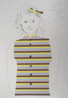 Young Girl With Stripes Sweater - Lithograph on Japan paper - Ltd to 100 proofs