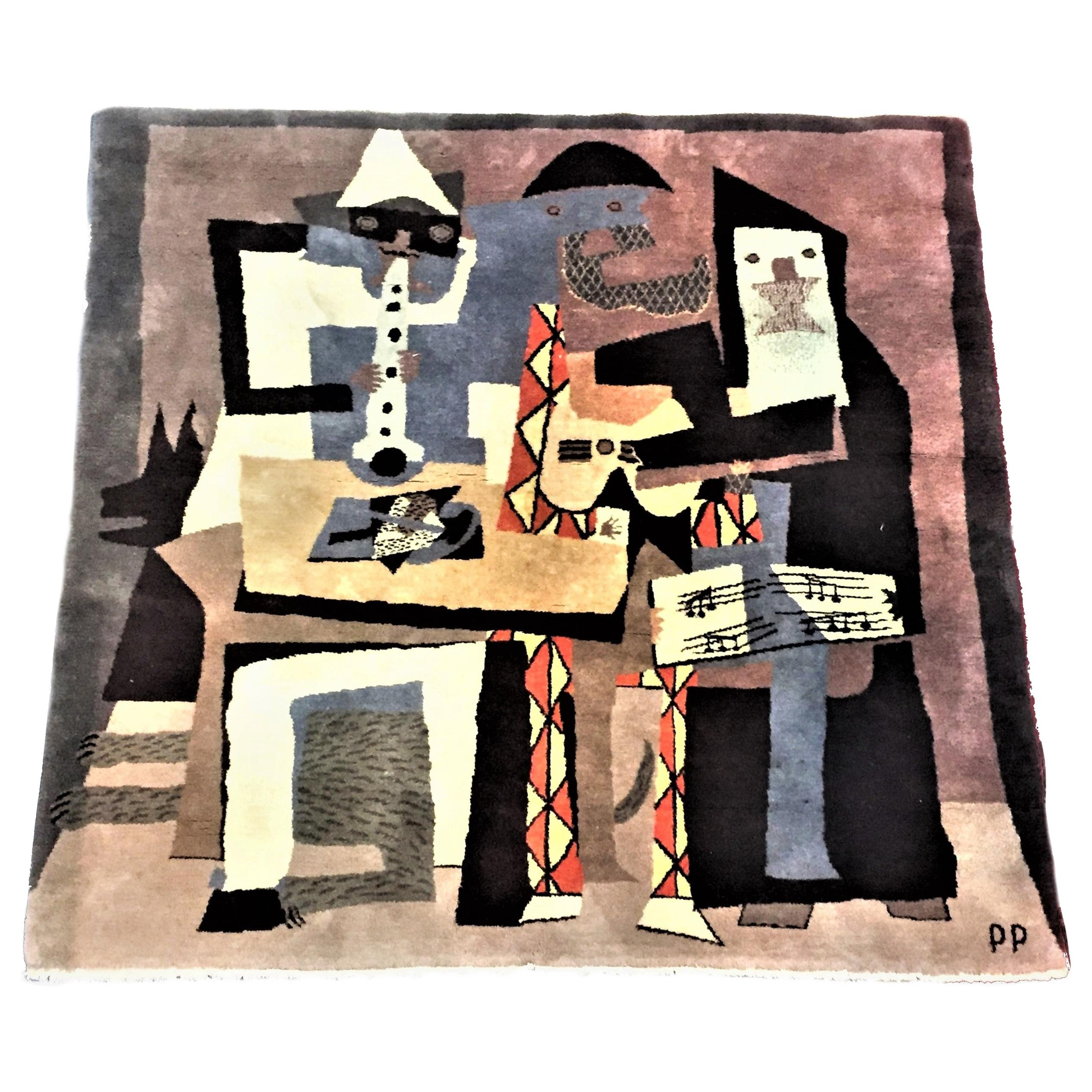 After Pablo Picasso, Three Musicians, Mid-Century Modern Wool Area Rug