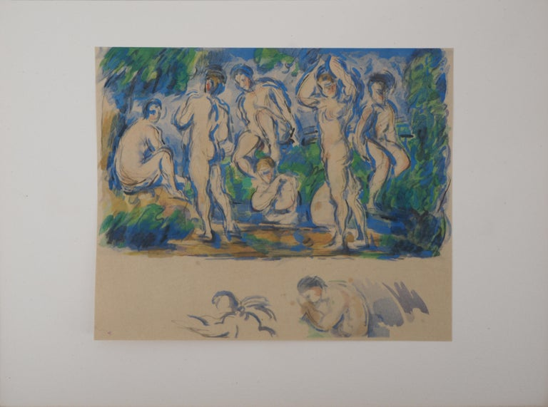 Bathers in a Landscape and Studies - Lithograph and Stencil Watercolor, 1947 - Print by After Paul Cezanne