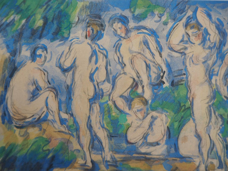 Bathers in a Landscape and Studies - Lithograph and Stencil Watercolor, 1947 - Impressionist Print by After Paul Cezanne