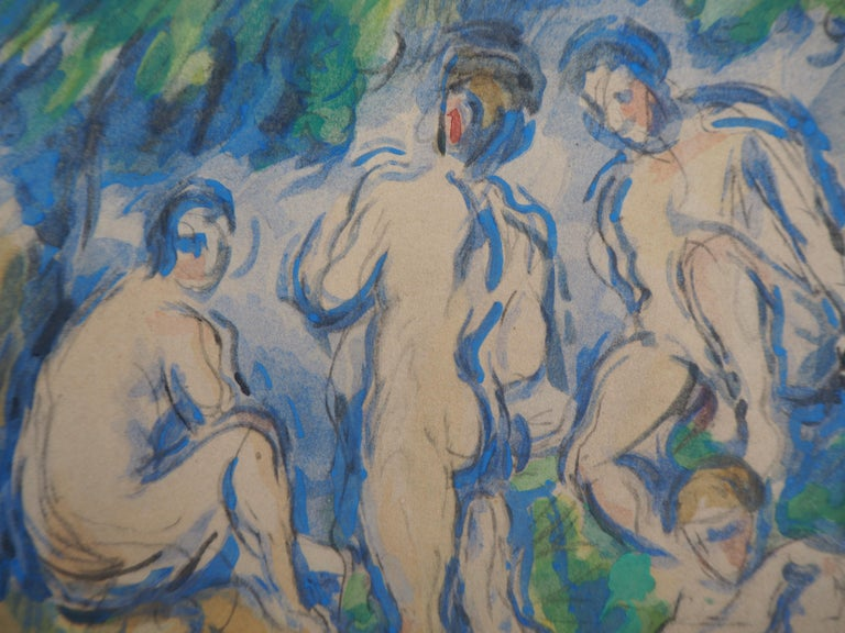 Bathers in a Landscape and Studies - Lithograph and Stencil Watercolor, 1947 - Gray Landscape Print by After Paul Cezanne
