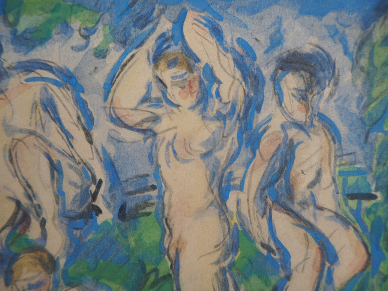 Paul CEZANNE (after) Bathers in a Landscape and Studies  Lithograph and Stencil watercolor (printed in Jacomet workshop) After a watercolor painted c. 1900 On heavy paper 20 x 24 cm (c. 8 x 9.5 inch) Mounted on vellum paper 38 x 28 cm (c. 15 x 11