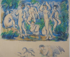 Bathers in a Landscape and Studies - Lithograph and Stencil Watercolor, 1947