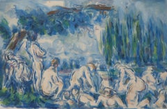 Bathers in the Shade of a Tree - Lithograph and Stencil Watercolor, 1947